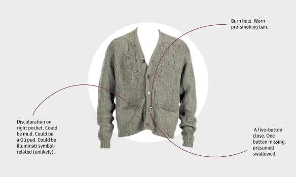 Cobain's cardigan in detail. Photograph: PR handout